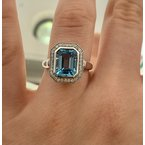 Gemstone Jewelry 14KW Emerald Cut Swiss Blue Topaz with Diamond Halo