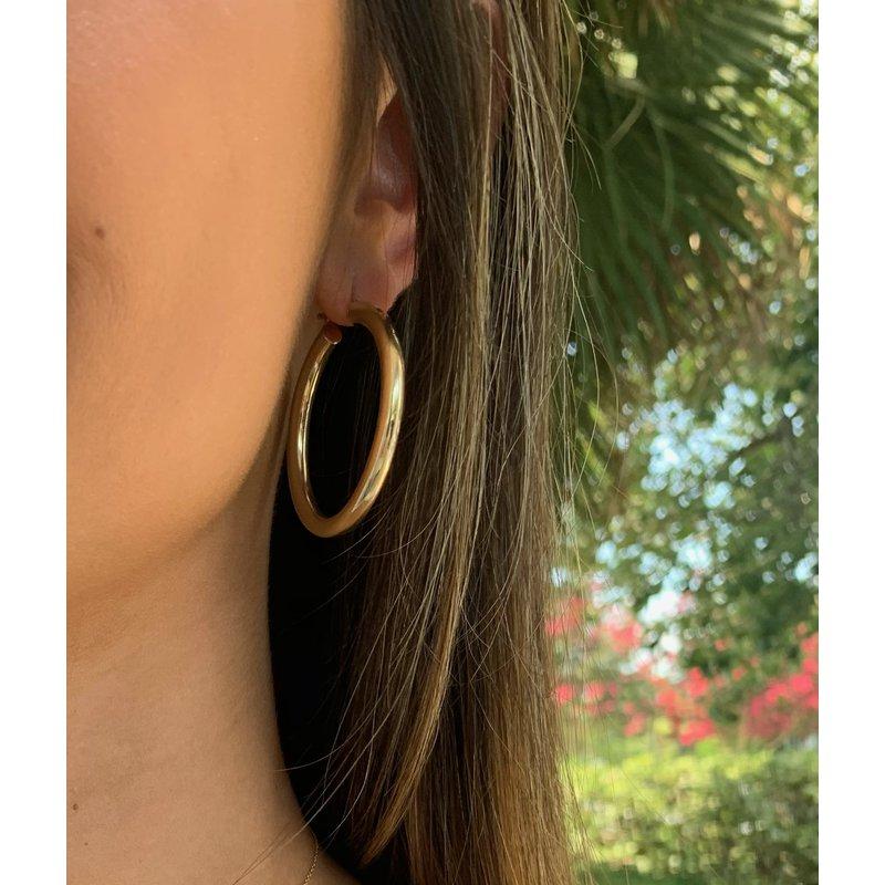 Gold Earrings 4mm 14K Hoops