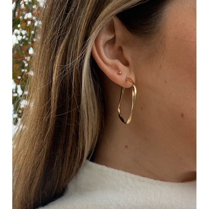 Gold Earrings 14K Yellow Gold 2.75mm Square Hoop
