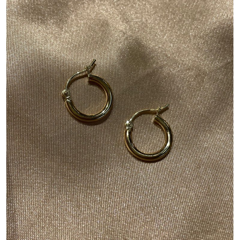 Gold Earrings 14K Yellow Gold 13mm Hoops
