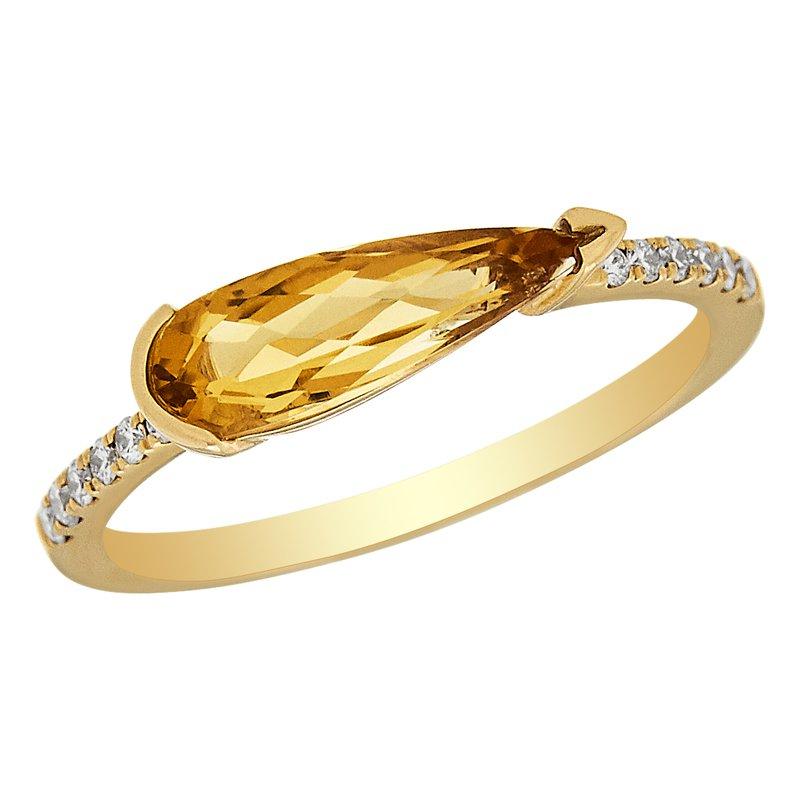Gemstone Jewelry Citrine & Diamond Ring