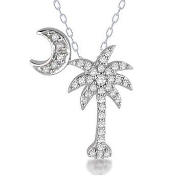 .27 ctw 14K Diamond Palmetto Pendant with crescent