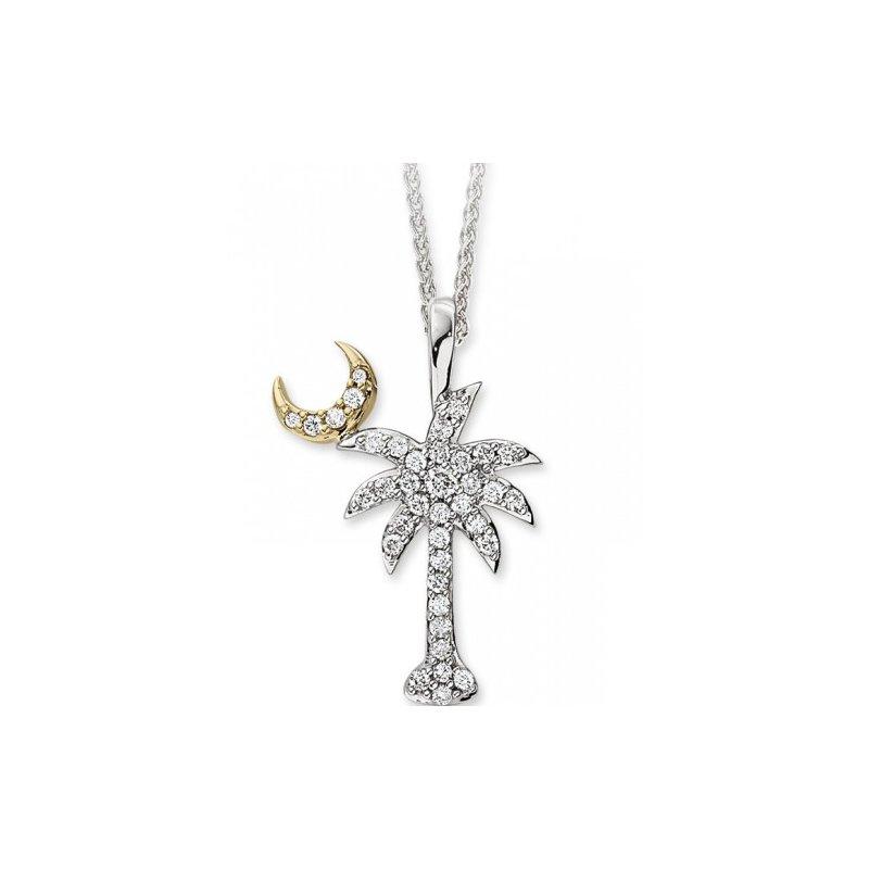 Diamond Palmetto Jewelry .27 ctw 14K Diamond Palmetto Pendant with crescent