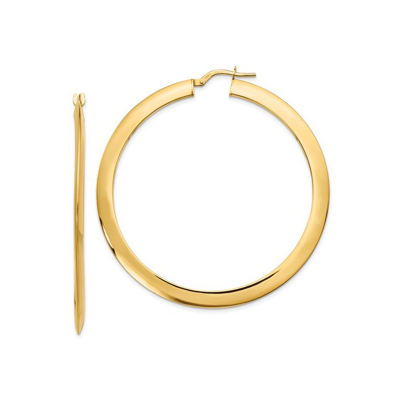 Gold Earrings 2mm Knife Edged 14K Hoops
