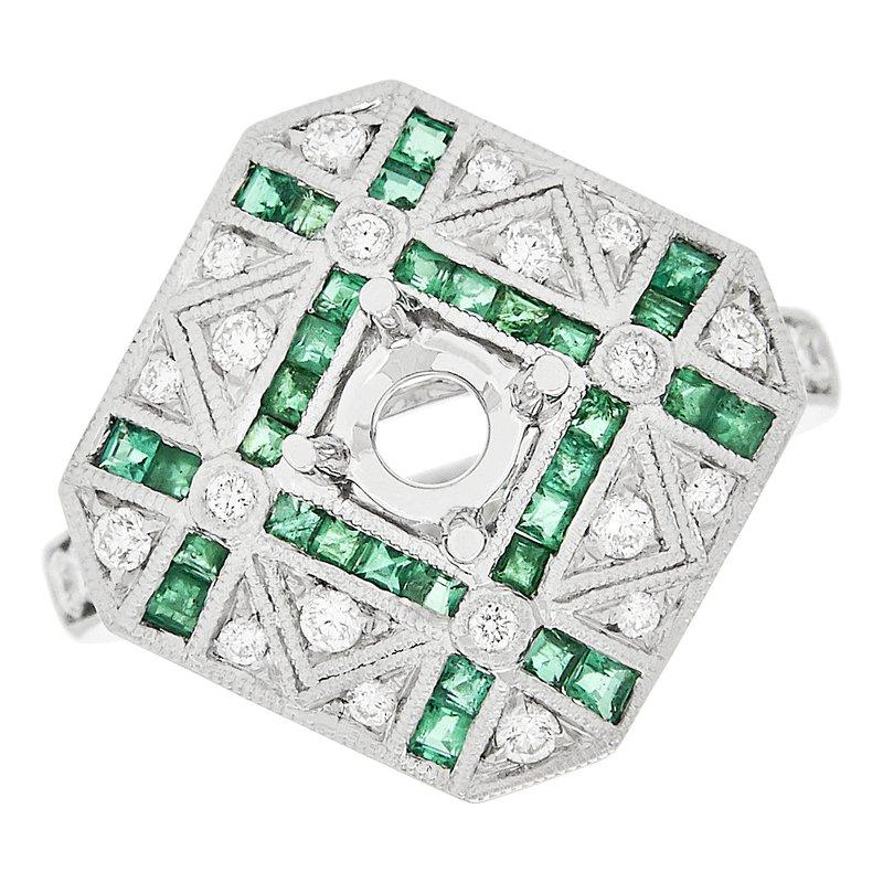 Gemstone Jewelry Emerald and Diamond Semi-mount