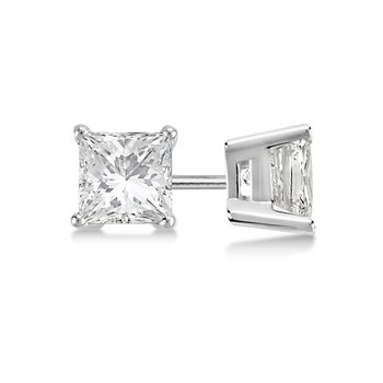 14K White Gold Princess Cut Studs