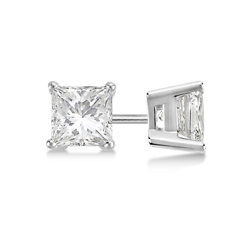 Diamond Studs 14K White Gold Princess Cut Studs