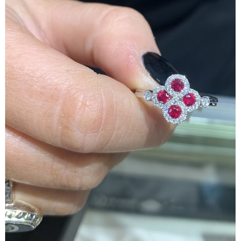 Gemstone Jewelry 14K White Gold Ruby and Diamond Ring