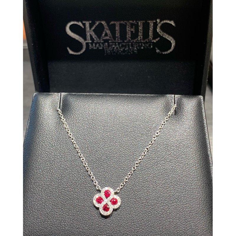 Gemstone Jewelry 14K White Gold Ruby and Diamond Necklace