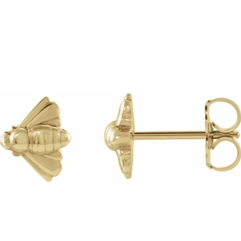 Gold Earrings 14K Gold Bee Studs