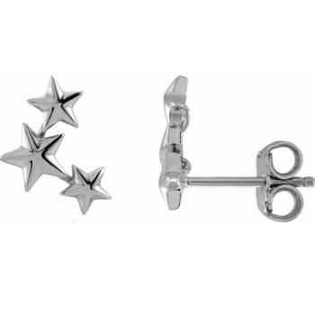 14K Gold Star Ear Climber Studs