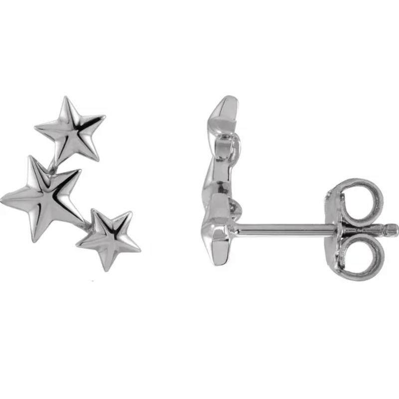 Gold Earrings 14K Gold Star Ear Climber Studs