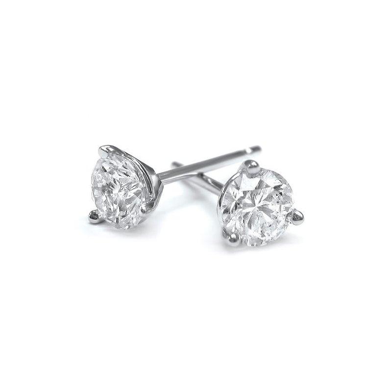 Diamond Studs 3-prong 18K White Gold Diamond Studs