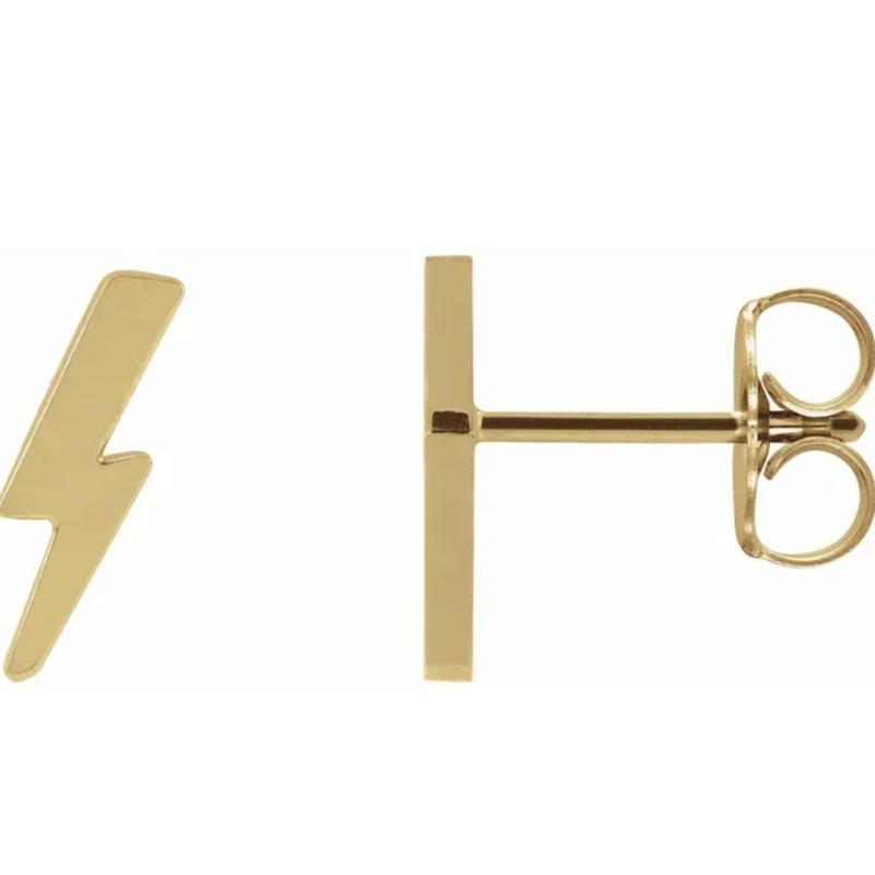Gold Earrings 14K Gold Bolt Studs