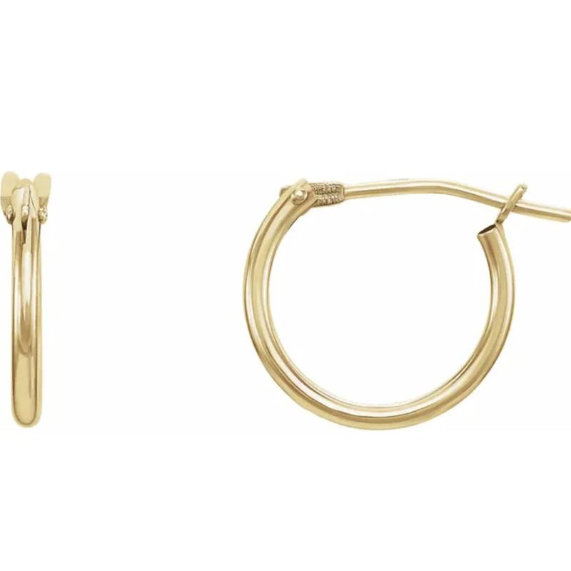Gold Earrings 14K Gold Mini Hinged Hoops