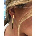 Gold Earrings 14K Yellow Gold Bar Dangle Earring