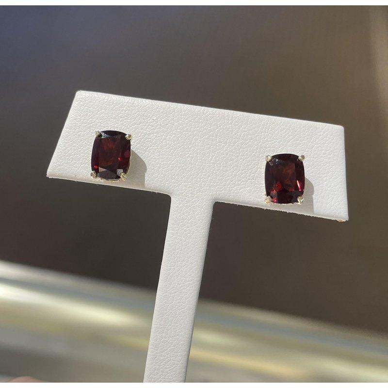 Gemstone Jewelry 5.2 Carat Antique Cushion Cut Garnet Studs