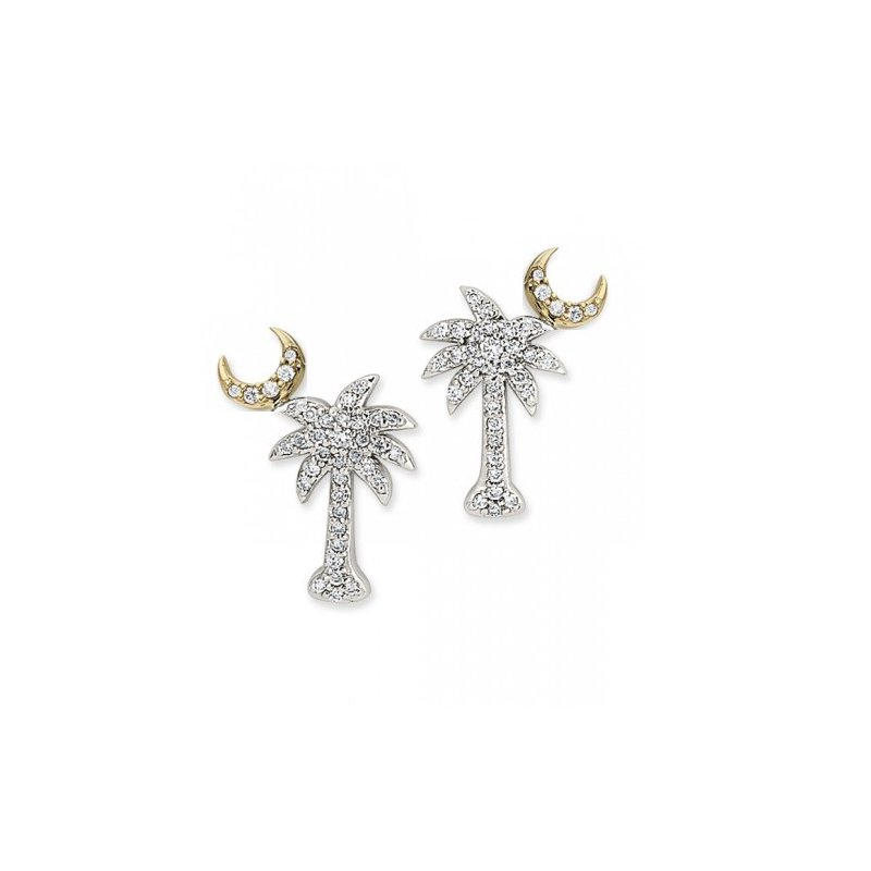 Diamond Palmetto Jewelry .50 ctw 14K Two Tone Diamond Palmetto Earrings