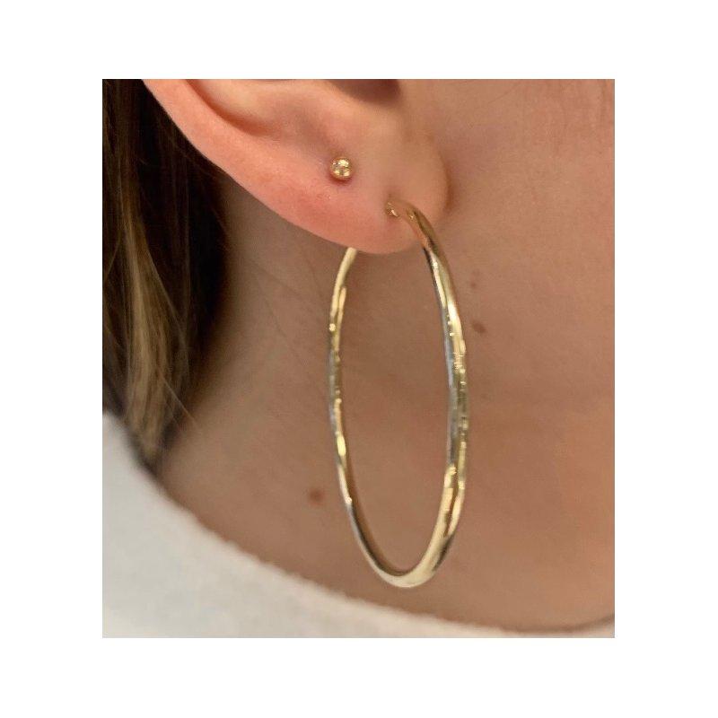 Gold Earrings 2mm 14K Hoops
