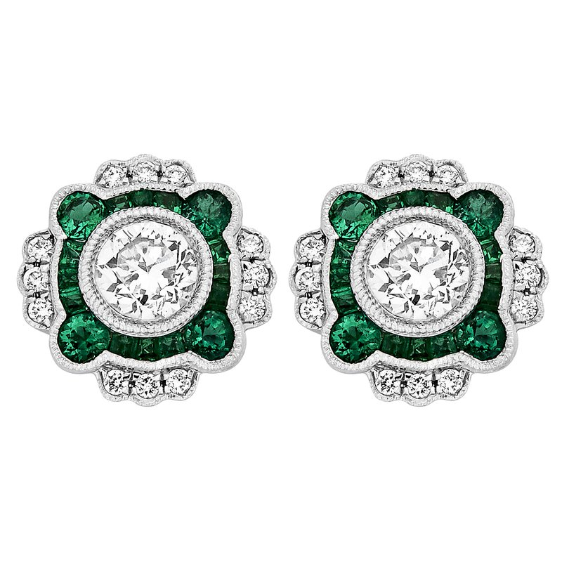 Gemstone Jewelry Emerald and Diamond Earrings