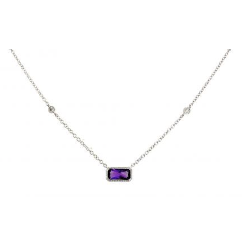 Gemstone Jewelry 14K White Gold Emerald Cut Amethyst Necklace