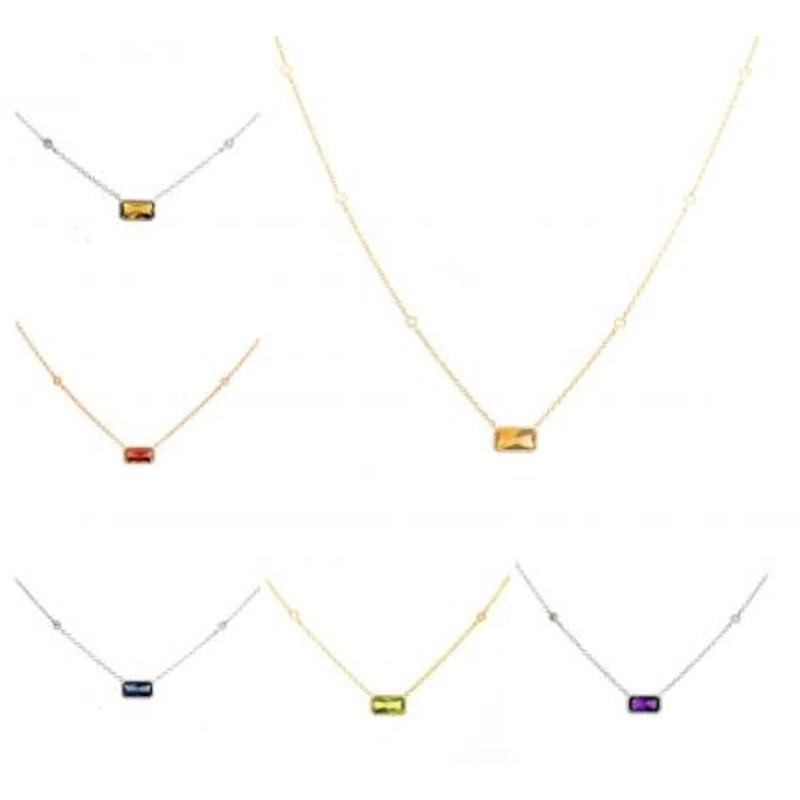 Gemstone Jewelry 14K White Gold Emerald Cut Amethyst Necklace
