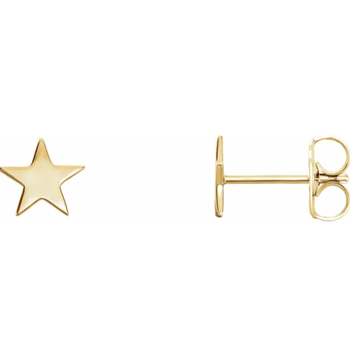 14K Gold Star Stud Earrings