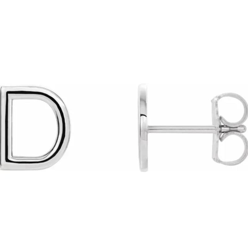 Gold Earrings 14K Initial Stud Earrings