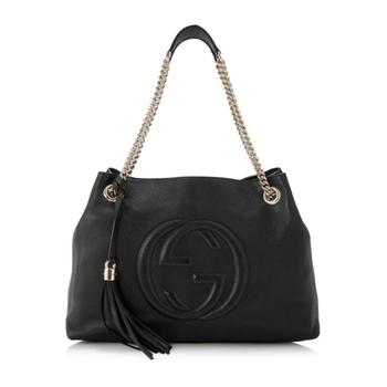 Gucci Soho Fringe Tassel Chain Bag in Black