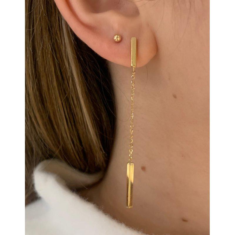 Gold Earrings 14K Yellow Gold Bar & Chain Earring