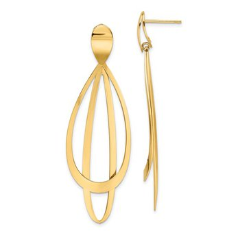 14K Yellow Gold Double Dangle Earring
