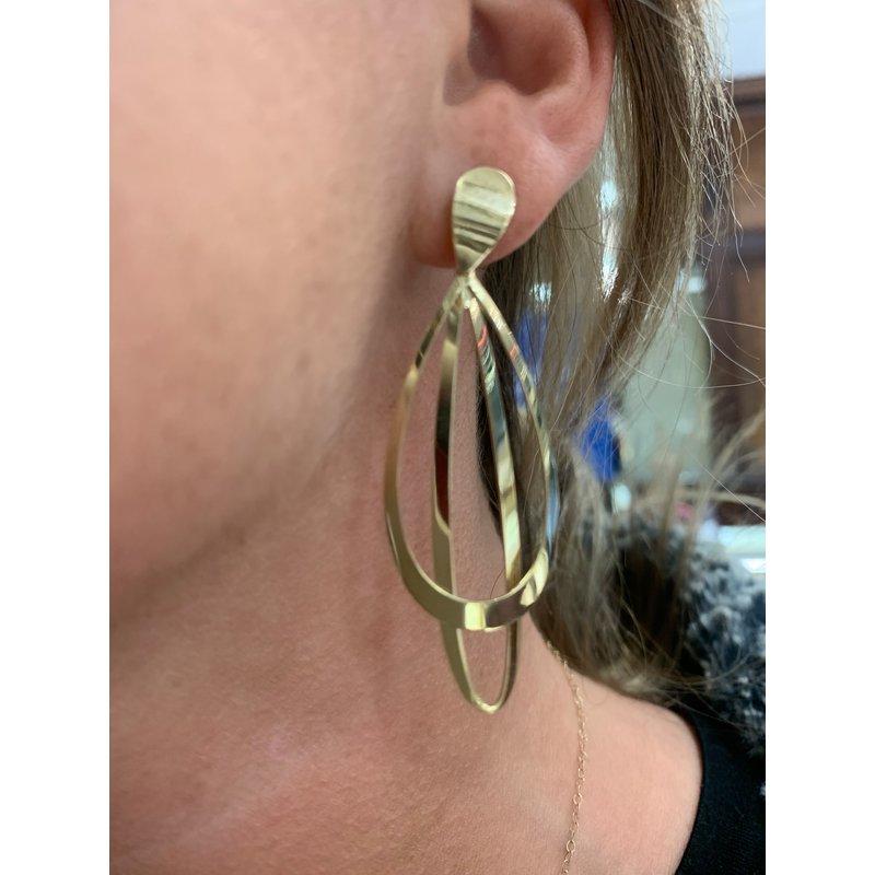 Gold Earrings 14K Yellow Gold Double Dangle Earring