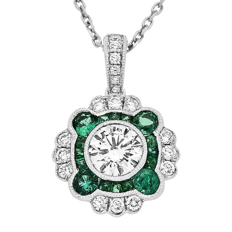 Gemstone Jewelry Emerald and Diamond Pendant