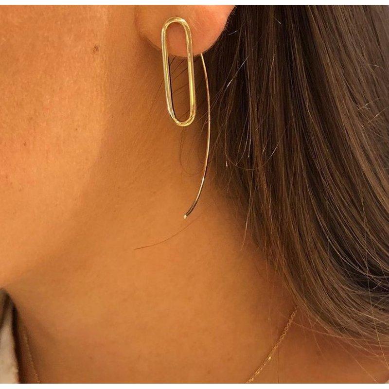Gold Earrings 14K Yellow Gold Threader Earring