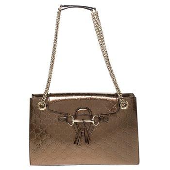 Gucci Bronze Guccissima Emily Shoulder Bag