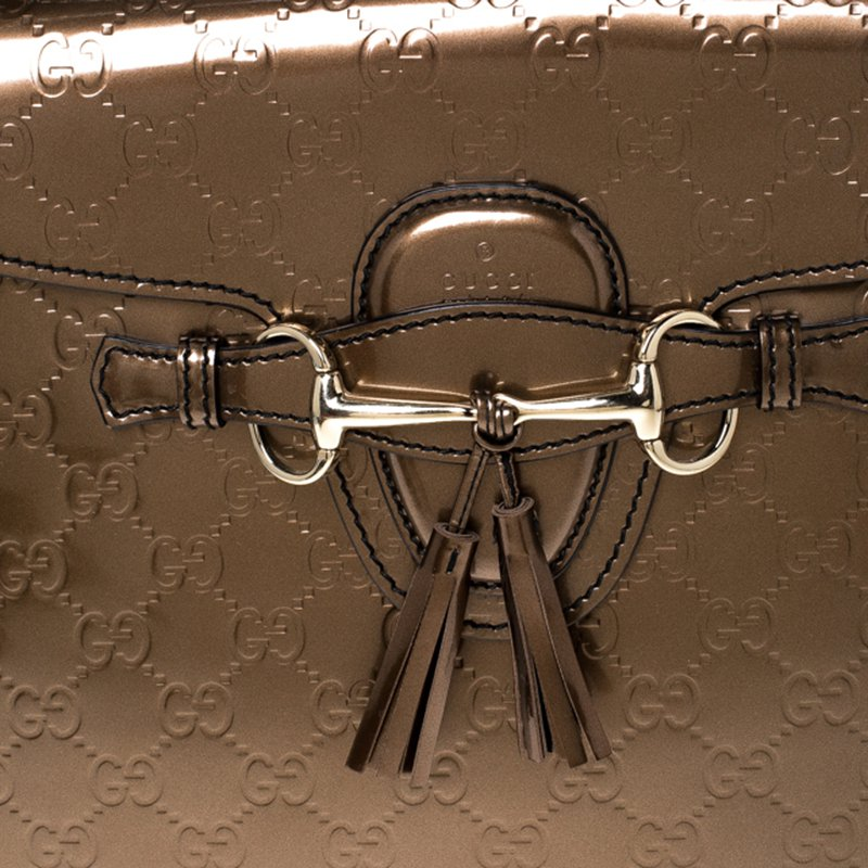 Luxury Handbags Gucci Bronze Guccissima Emily Shoulder Bag