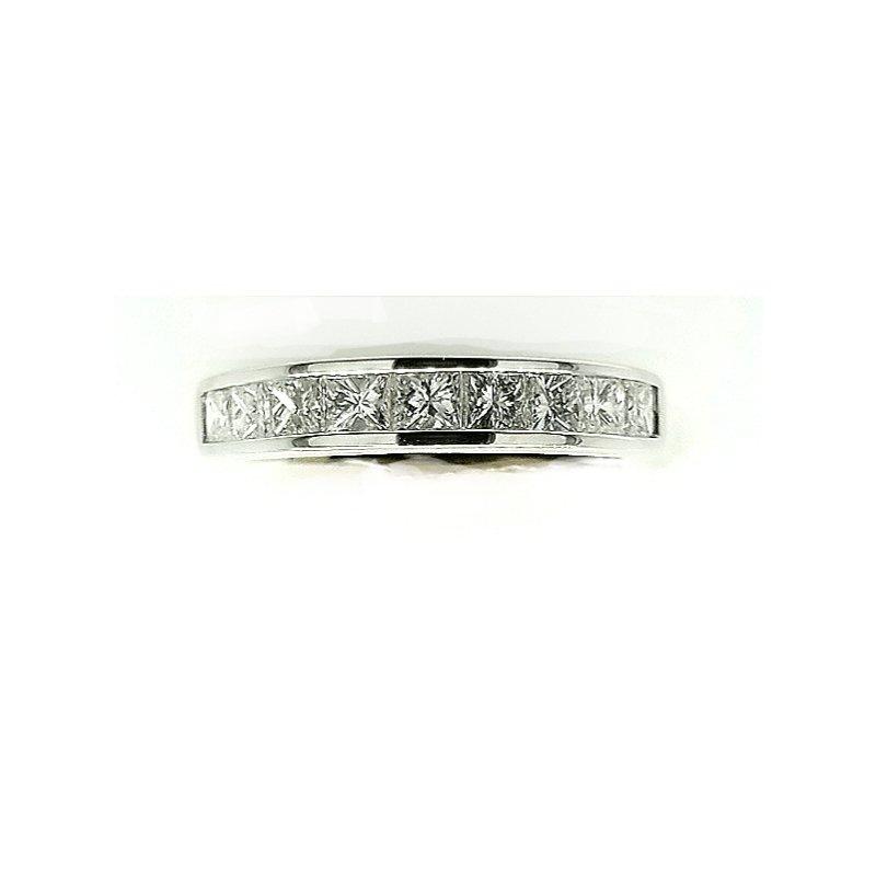 Smithworks Estate Jewelry 14k White Gold Princess Cut Diamond Band