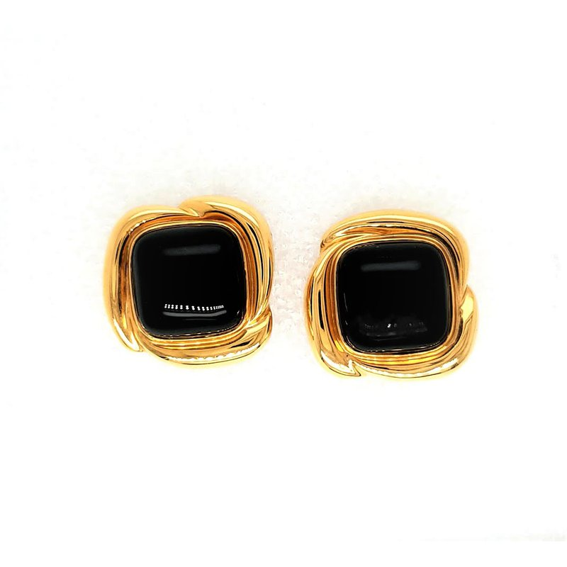 Smithworks Estate Jewelry Lady's Onyx Stud Estate Earrings