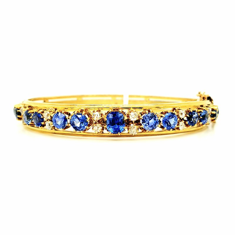 Smithworks Estate Jewelry 18KY French Bangle with Diamonds and Sapphires