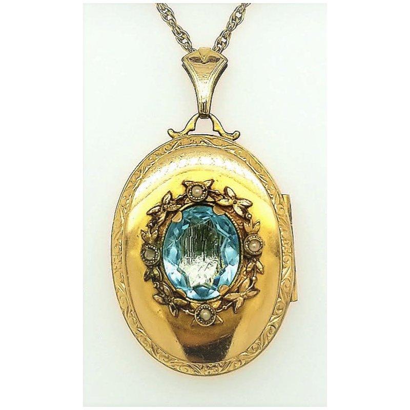 Smithworks Estate Jewelry Lady's Aquamarine Locket