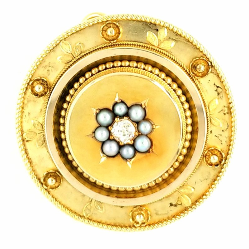 Smithworks Estate Jewelry 18K Yellow Gold Round Pin/Pendant with Small Pearls and Diamond