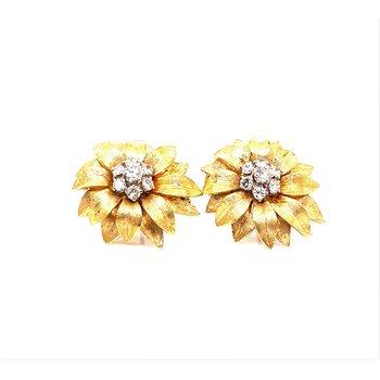 Lady's 14K and Diamond Sunflower Earrings