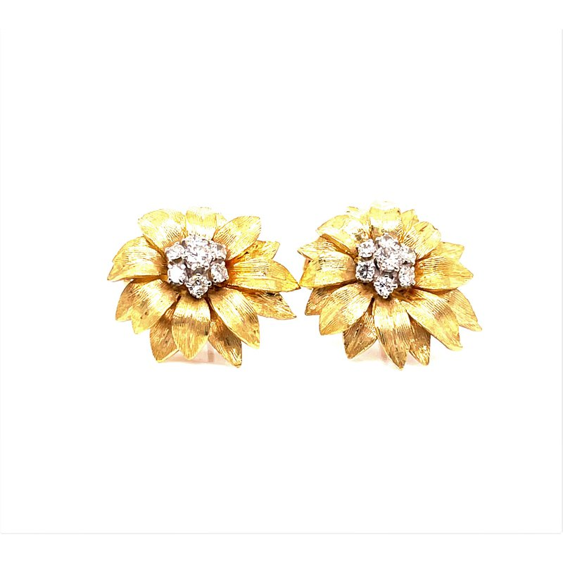 Smithworks Estate Jewelry Lady's 14K and Diamond Sunflower Earrings