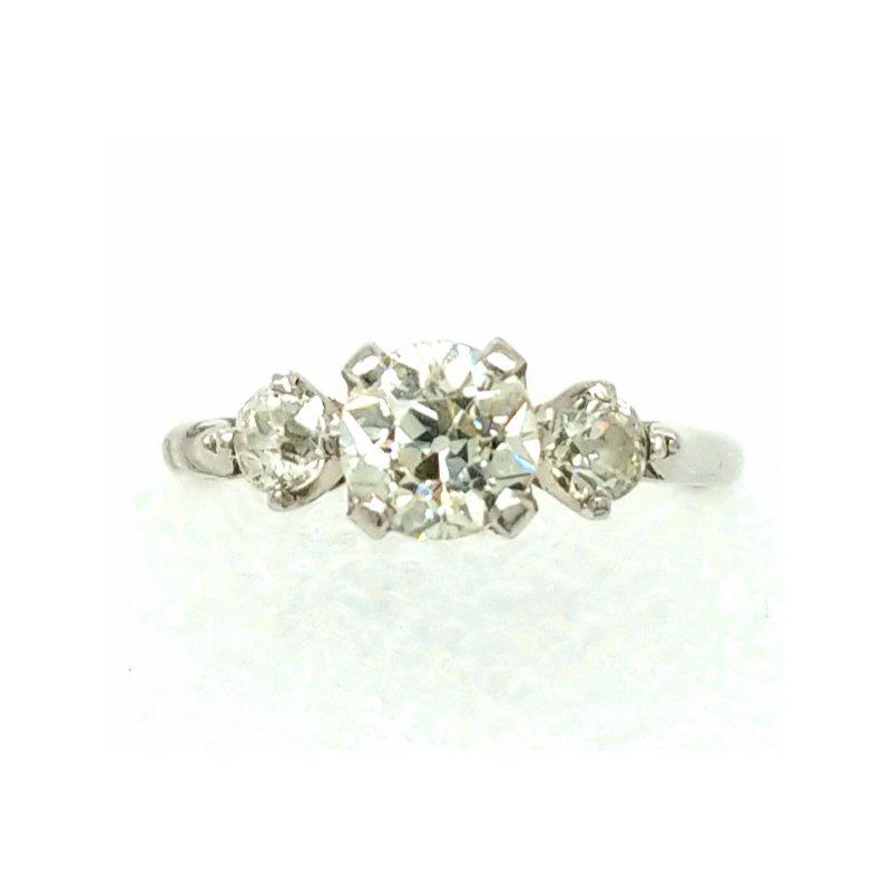 Smithworks Estate Jewelry Three Diamond Engagement Ring in Platinum 1.00ctw