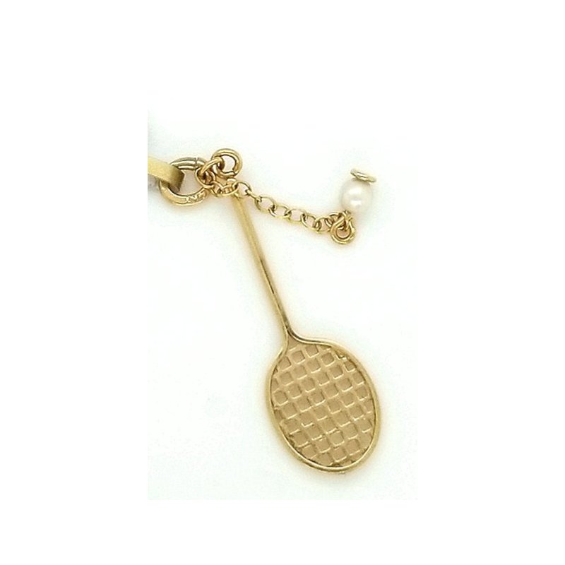 Smithworks Estate Jewelry 14ky Estate Charm Tennis Racquest with Pearl