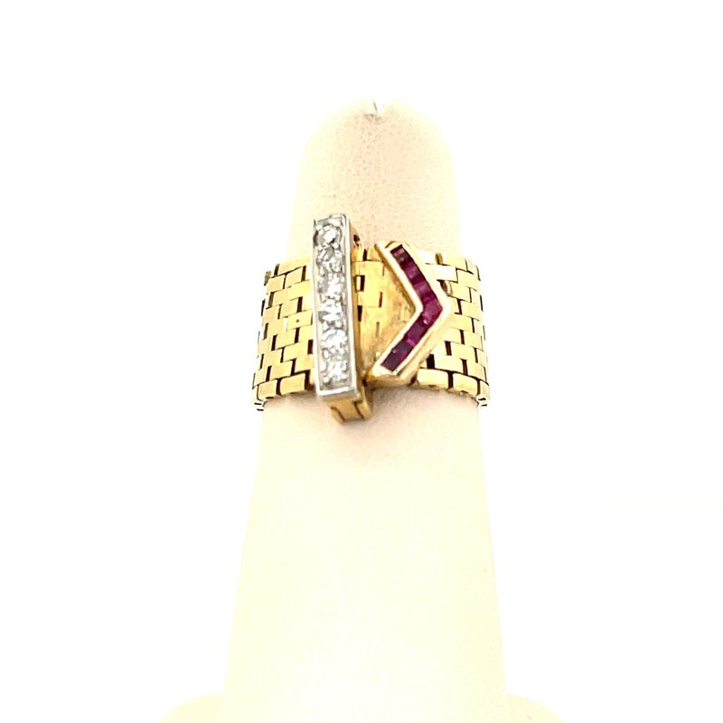 Smithworks Estate Jewelry Lady's Diamond and Ruby Belt Ring