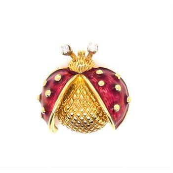 Lady's Enamel Red Ladybug Pin