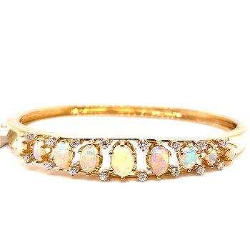 Lady's Opal and Polished Gold Bangle Bracelet