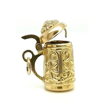 14ky Estate Charm German Stein with Hinged Lid