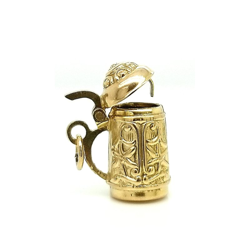 Smithworks Estate Jewelry 14ky Estate Charm German Stein with Hinged Lid